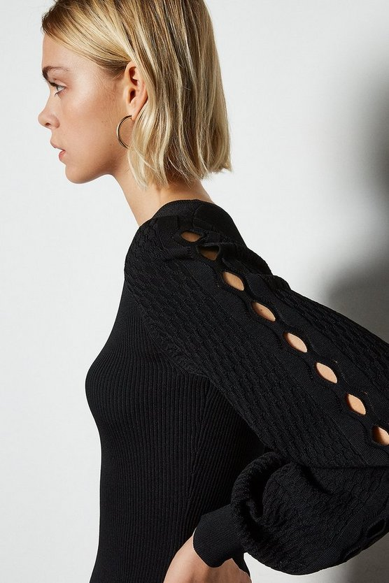 Black Balloon Sleeve Stitch Detail Knitted Top