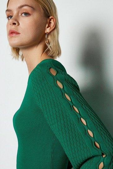 Green Balloon Sleeve Stitch Detail Knitted Top