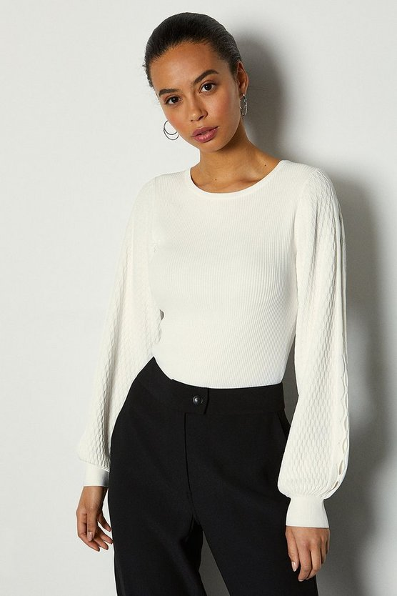 Ivory Balloon Sleeve Stitch Detail Knitted Top