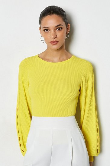 Lime Balloon Sleeve Stitch Detail Knitted Top