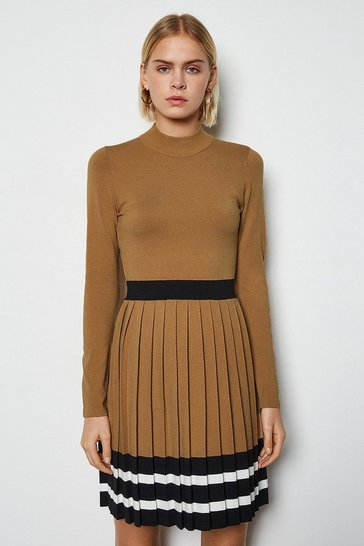 Camel Sporty Stripe Pleat Knit Dress