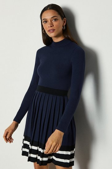 Navy Sporty Stripe Pleat Knit Dress