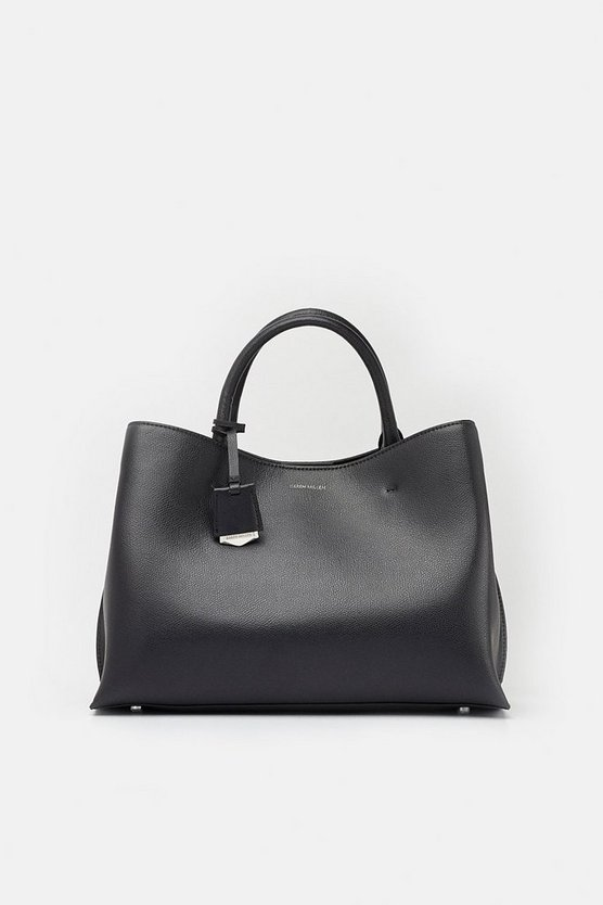 Black Simple Leather Grab Bag