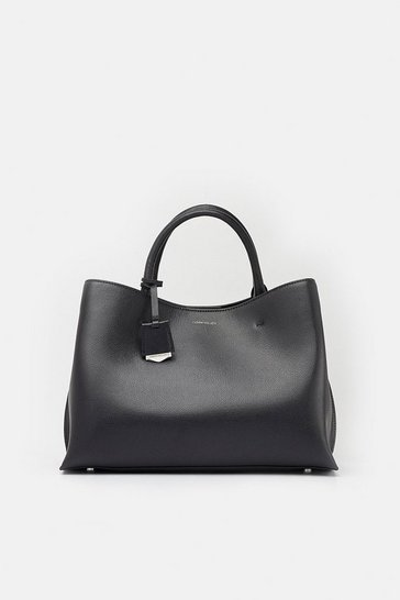 Womens Black Simple Leather Grab Bag