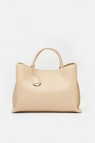 Womens Natural Simple Leather Grab Bag