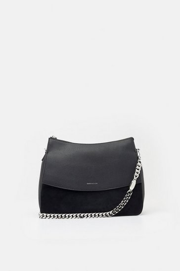 Black Regent Suede Shoulder Bag