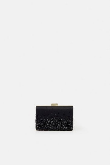 Womens Black Embellished Detail Clutch