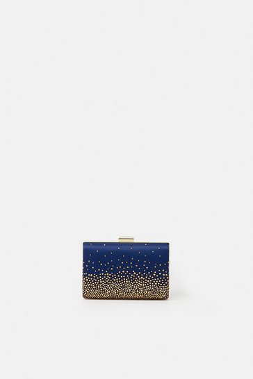 Womens Dark blue Embellished Detail Clutch