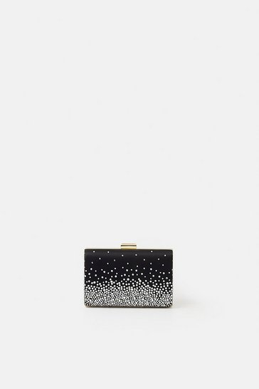 Womens Silver Embellished Detail Clutch