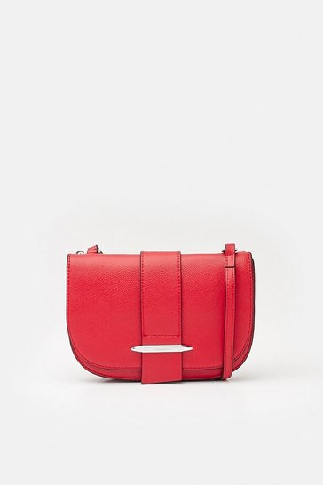 Red Metal Bar Detail Crossbody Bag