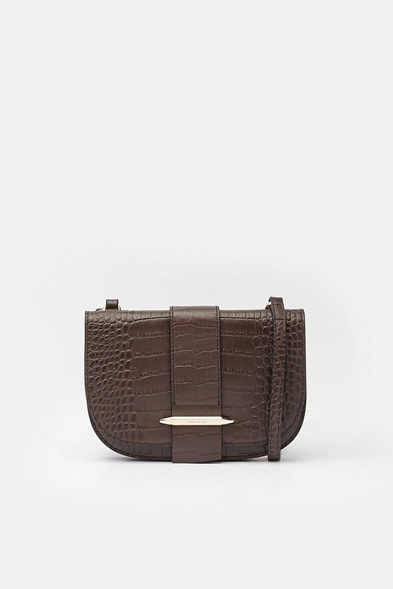 Chocolate Metal Bar Detail Crossbody