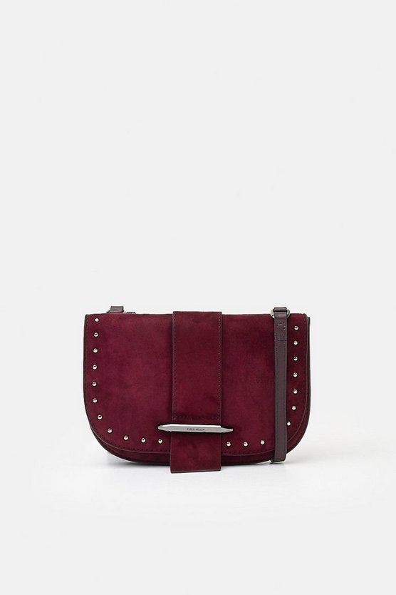 Dark red Metal Bar Detail Crossbody