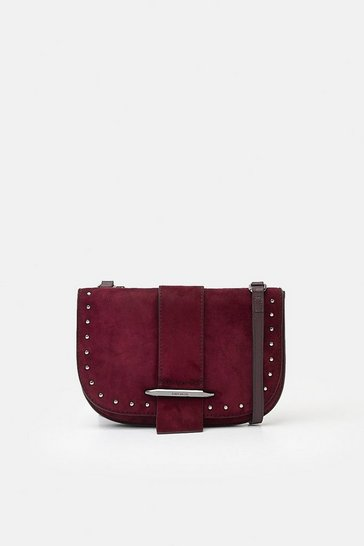 Womens Dark red Metal Bar Detail Crossbody