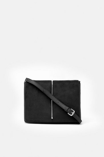 Womens Black Metal Teardrop Detail Crossbody