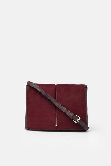 Womens Dark red Metal Teardrop Detail Crossbody
