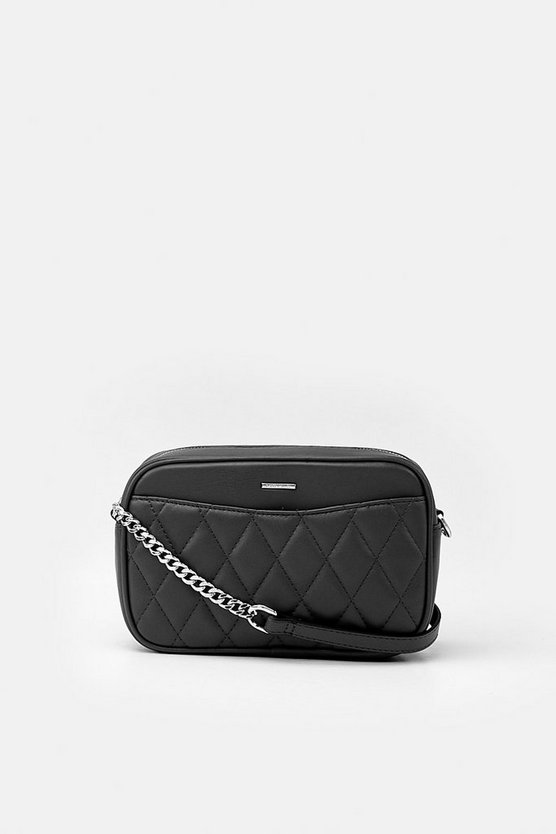 Black Quilted Faux Leather Crossbody
