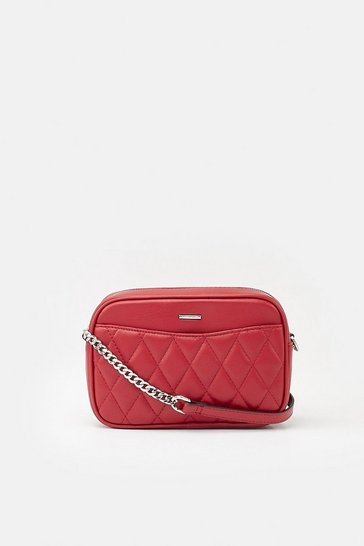 Womens Lipstick Quilted Faux Leather Crossbody