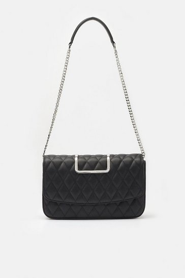 Womens Black Quilted Shoulder Bag