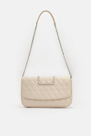 Womens Cream Quilted Shoulder Bag