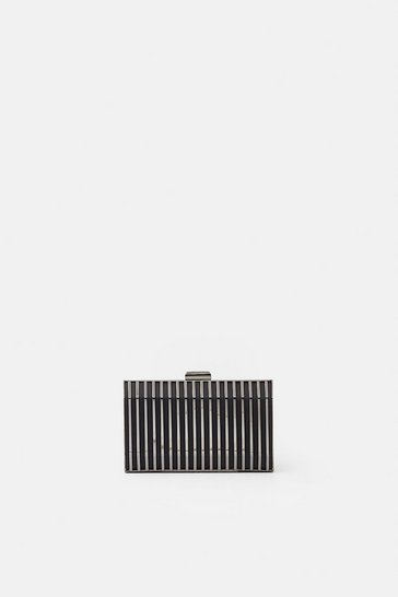 Womens Black Caged Clutch