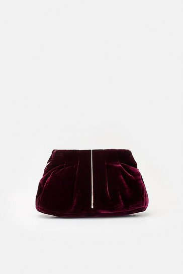 Womens Burgundy Metal Teardrop Detail Clutch