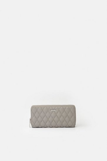 Grey Quilted Faux Leather Purse