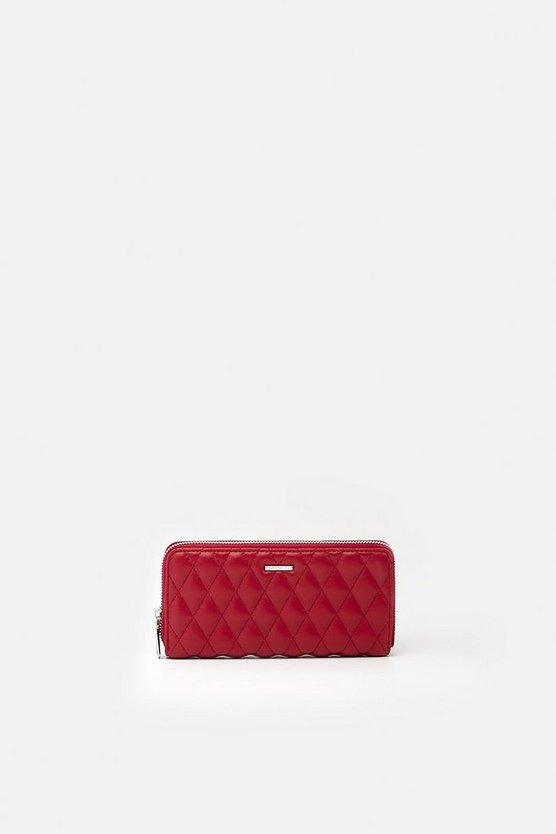 Red Quilted Faux Leather Purse