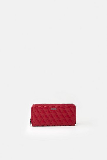 Womens Red Quilted Faux Leather Purse