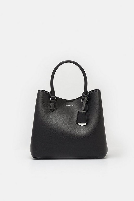Womens Black Faux Leather Mini Bucket Bag