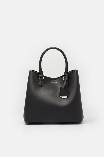Black Faux Leather Mini Bucket Bag