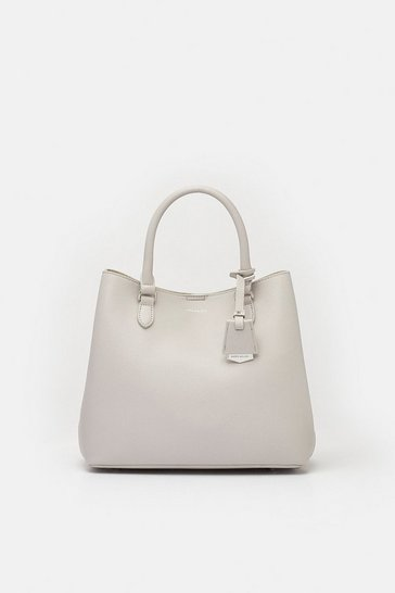 Womens Grey Faux Leather Mini Bucket Bag