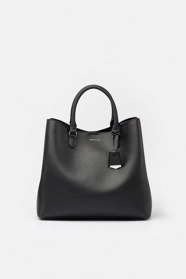 Womens Black Faux Leather Bucket Bag