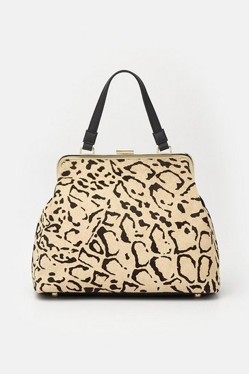 Womens Leopard Frame Day Bag