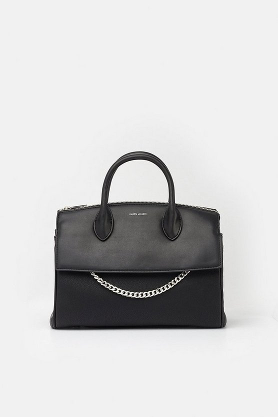 Black Faux Leather and Chain Detail Bag
