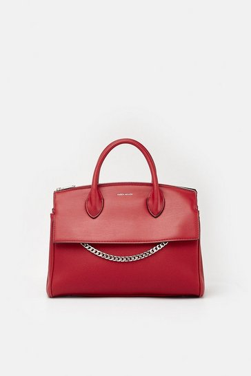 Womens Red Faux Leather and Chain Detail Bag