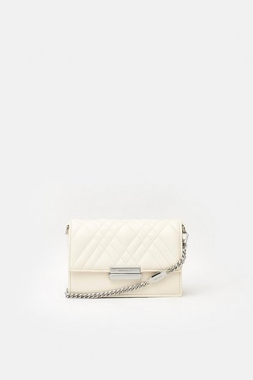 Womens Cream Faux Leather Crossbody