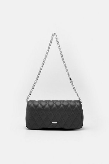 Womens Black Quilted Mini Shoulder Bag