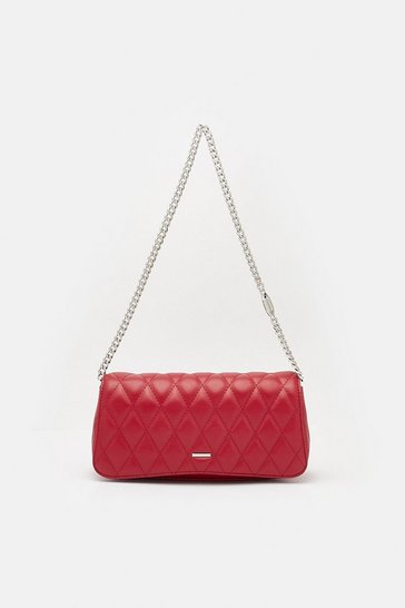 Womens Red Quilted Mini Shoulder Bag