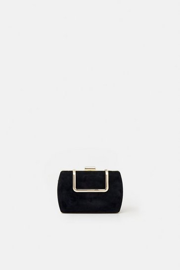 Womens Black Metal Detail Evening Clutch