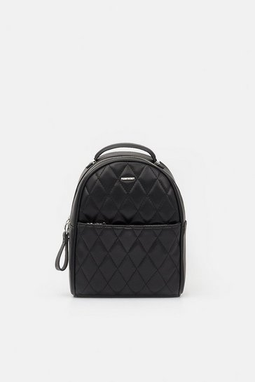 Womens Black Quilted Mini Backpack