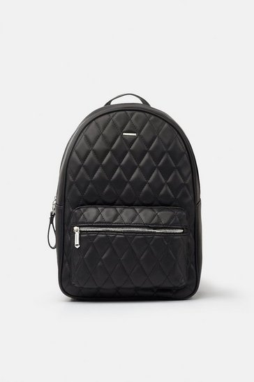 Womens Black Quilted Backpack