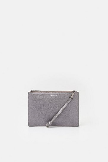 Pewter Leather Pochette