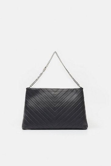 Womens Black Chevron Shoulder Bag