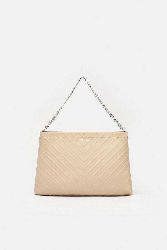 Natural Raised Stripe Shoulder Bag