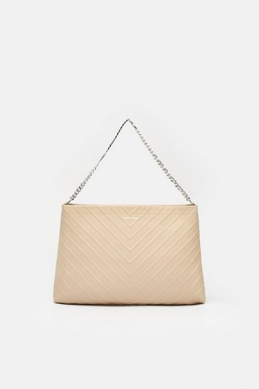 Womens Natural Chevron Shoulder Bag