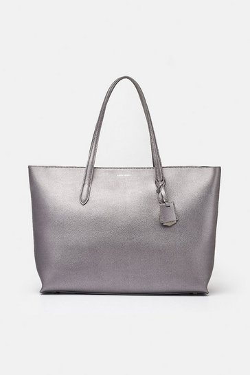 Pewter Textured Tote Bag