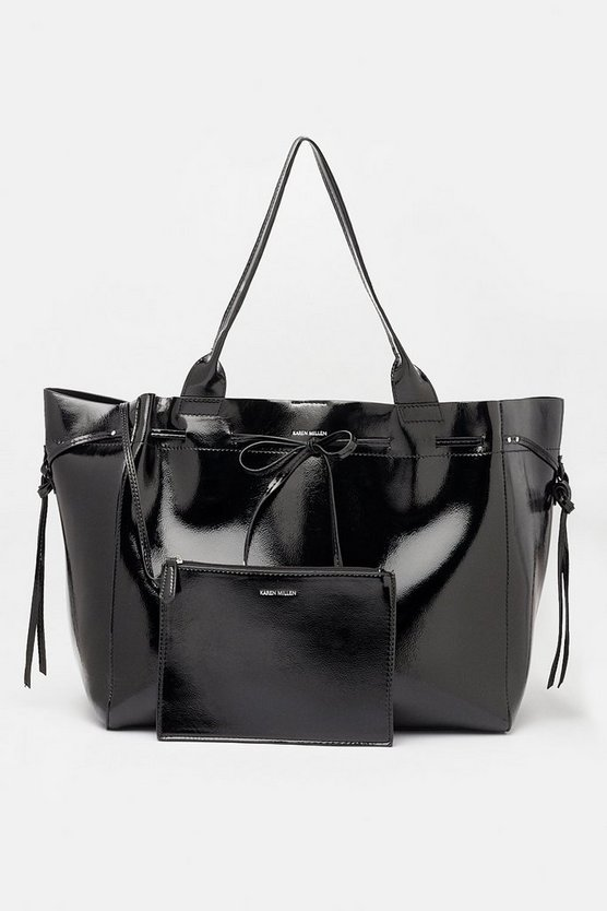 Black Faux Patent Oversized Tote
