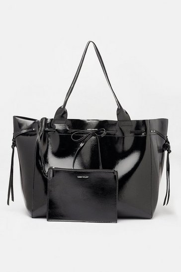 Womens Black Faux Patent Oversized Tote