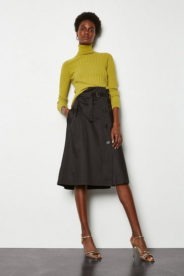 Black Paperbag Waist Wrap Front Skirt