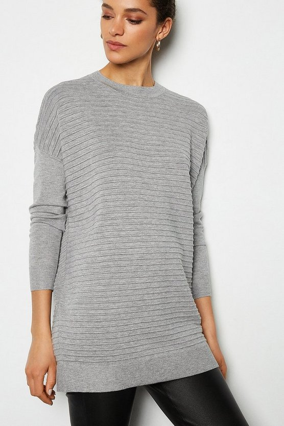 Grey Ripple Stitch Slouchy Jumper